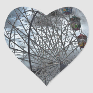 Ferris Wheel in the Clouds Heart Sticker