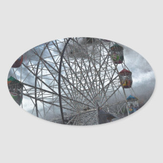 Ferris Wheel in the Clouds Oval Sticker
