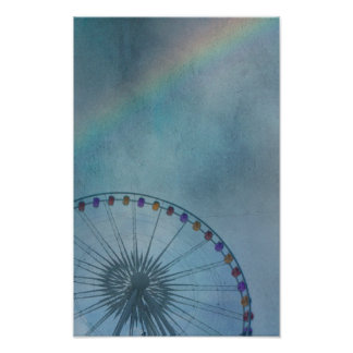 ferris wheel with rainbow in background poster