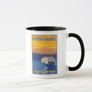 Ferry and Mountains - Hood Canal, Washington Mug