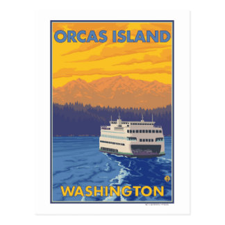 Ferry and Mountains - Orcas Island, Washington Postcard