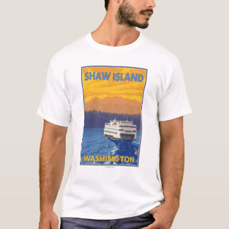 Ferry and Mountains - Shaw Island, Washington T-Shirt