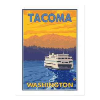 Ferry and Mountains - Tacoma, Washington Postcard