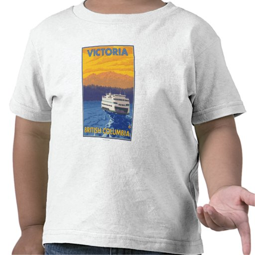 Ferry and Mountains - Victoria, BC Canada Tee Shirt