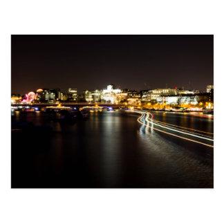 Ferry at night postcard