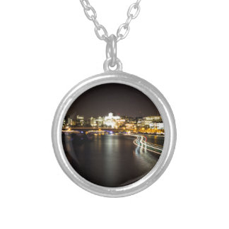 Ferry at night silver plated necklace
