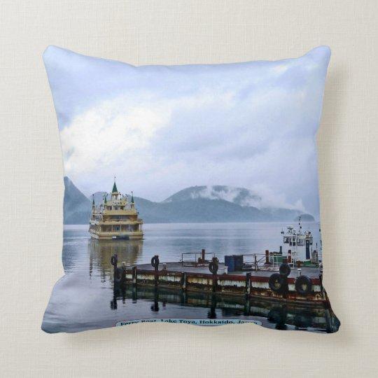 Ferry Boat, Lake Toya, Hokkaido, Japan Throw Pillow