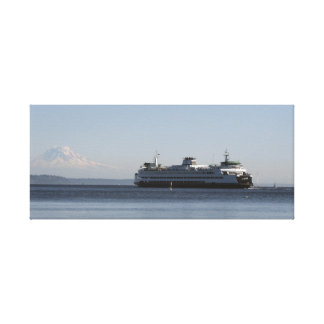 Ferry in Puget Sound with Mount Rainier Canvas Print