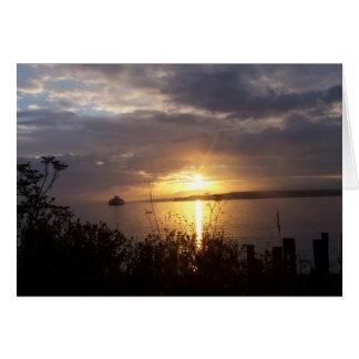 ferry in sunrise card