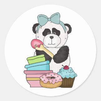 Festins de bonbon à ours panda autocollant rond