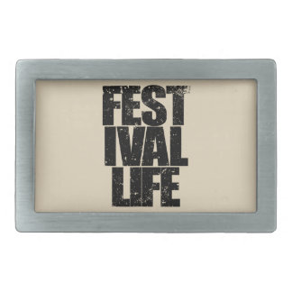 FESTIVAL LIFE (blk) Rectangular Belt Buckle