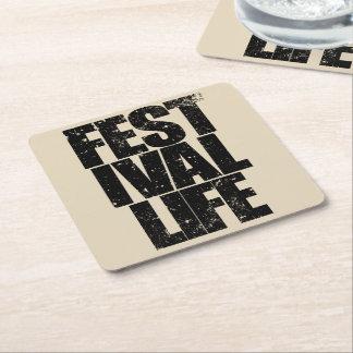 FESTIVAL LIFE (blk) Square Paper Coaster