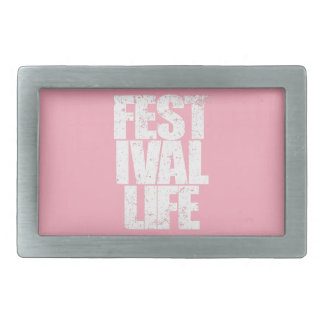 FESTIVAL LIFE (wht) Rectangular Belt Buckle