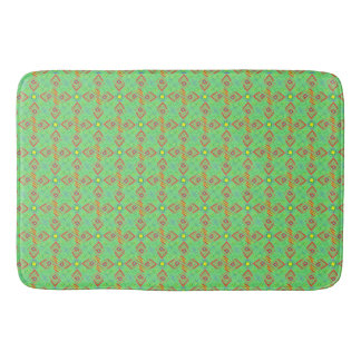 festival pattern green/mint bath mat