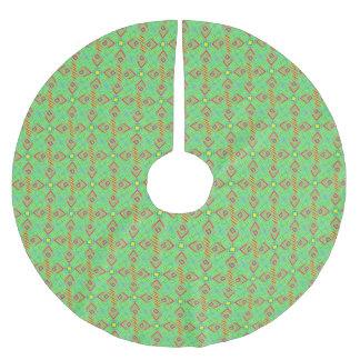 festival pattern green/mint brushed polyester tree skirt