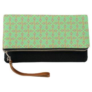 festival pattern green/mint clutch