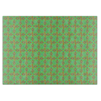 festival pattern green/mint cutting board