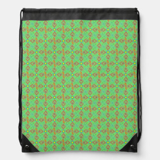 festival pattern green/mint drawstring bag