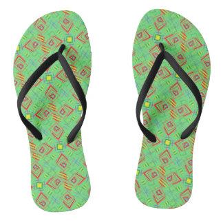 festival pattern green/mint flip flops