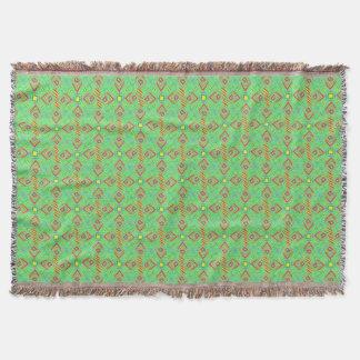 festival pattern green/mint throw blanket