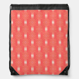 festival pattern peach drawstring bag