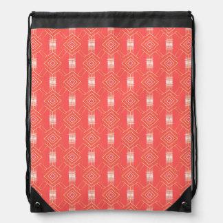 festival pattern peach drawstring bag