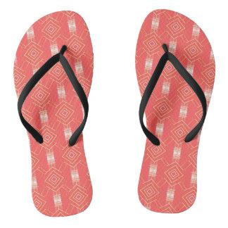 festival pattern peach flip flops