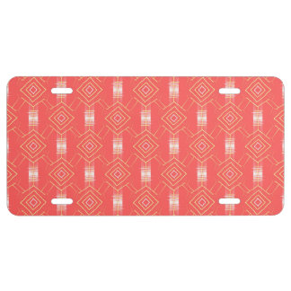 festival pattern peach license plate