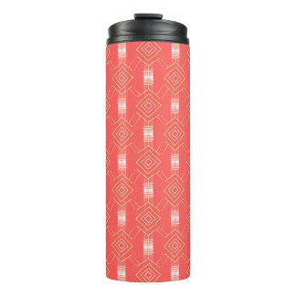 festival pattern peach thermal tumbler