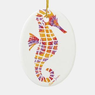 Festival Seahorse Ceramic Oval Ornament