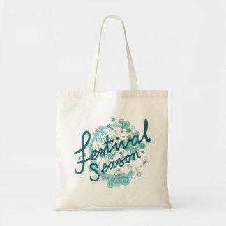 Festival Season Type Design Teals Tote Bag