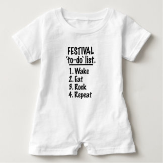 Festival 'to-do' list (blk) baby romper