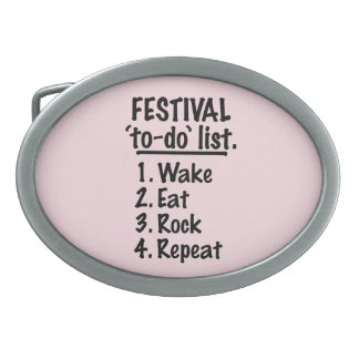 Festival 'to-do' list (blk) belt buckles