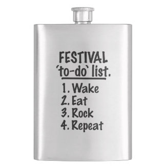 Festival 'to-do' list (blk) hip flask