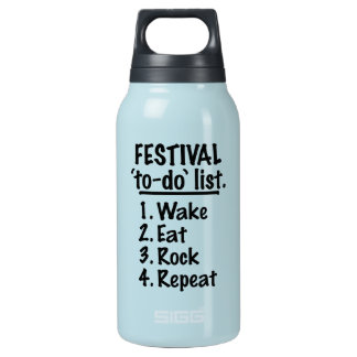 Festival 'to-do' list (blk) insulated water bottle