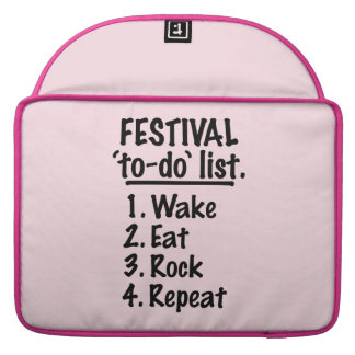 Festival 'to-do' list (blk) sleeves for MacBook pro
