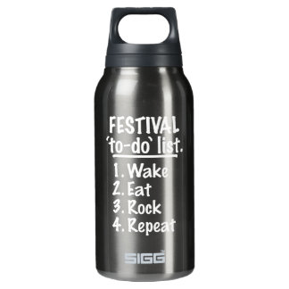 Festival 'to-do' list (wht) insulated water bottle