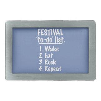 Festival 'to-do' list (wht) rectangular belt buckle