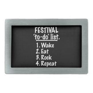 Festival 'to-do' list (wht) rectangular belt buckles