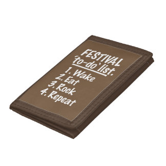 Festival 'to-do' list (wht) tri-fold wallet