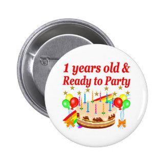 FESTIVE 1ST BIRTHDAY PARTY DESIGN 2 INCH ROUND BUTTON