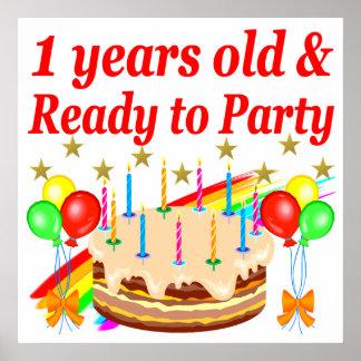 FESTIVE 1ST BIRTHDAY PARTY DESIGN POSTER