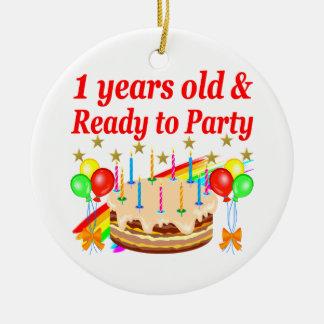 FESTIVE 1ST BIRTHDAY PARTY DESIGN ROUND CERAMIC ORNAMENT