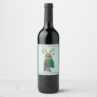 FESTIVE ANTLER OWL WINE LABEL