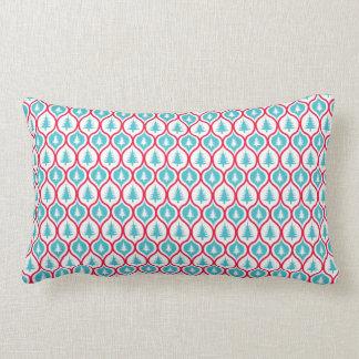 Festive aqua Blue Christmas Tree Pattern Lumbar Pillow