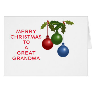 Festive Baubles Great Grandma Card