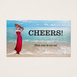 Festive Beach Celebration Drink Voucher Template Business Card