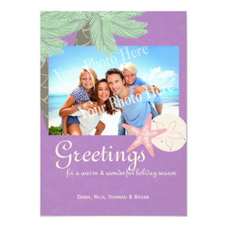 Festive Beach Holiday Flat Card Photo Greeting