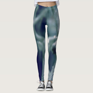 Festive blue glittery deer pattern leggings