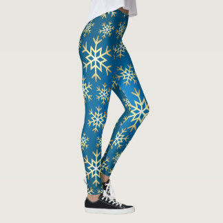 Festive blue gold snowflake pattern leggings